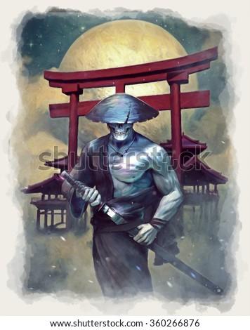 Undead Samurai - stock photo