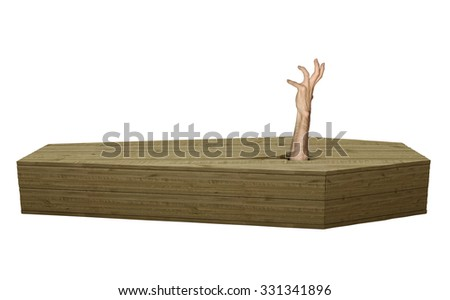 Undead zombie hand breaking out of a wood coffin on Halloween - stock photo