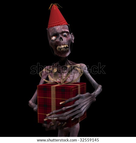 Undead Zombie holding a Birthday Gift. Isolated on a black background. - stock photo