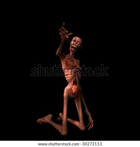 Undead Zombie reaching out to you. Isolated on a black background. - stock photo