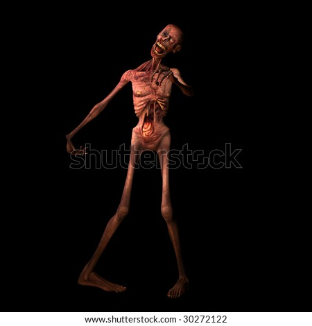 Undead Zombie walking towards you. Isolated on a black background. - stock photo