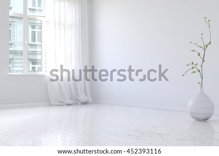 Undecorated spacious empty apartment room interior with hardwood floor, large casement windows and planter with little tree shrub. 3d Rendering.