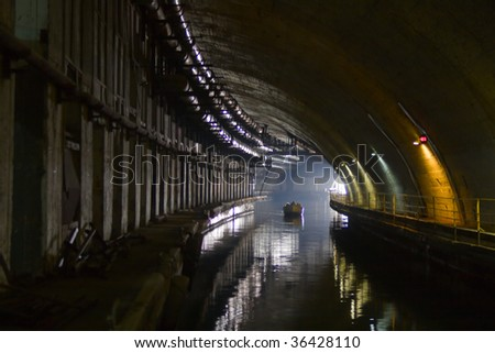 undeground base for submarine. museum. - stock photo