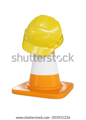 Under construction concept background - yellow hard hat on orange highway traffic construction cone with white stripes isolated on white