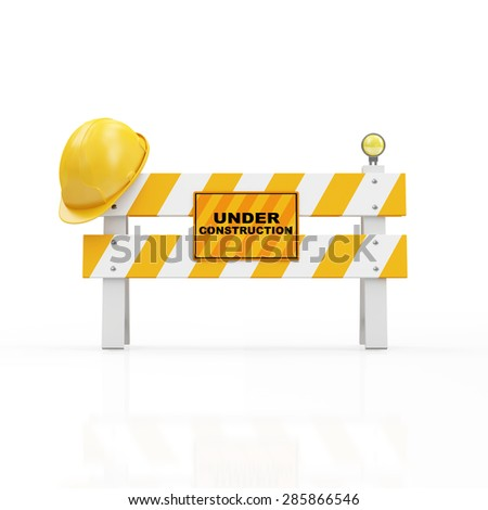 Under Construction Concept. Yellow Safety Helmet on a Road Barrier isolated on white background - stock photo