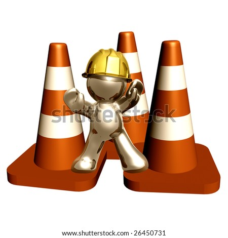 Under construction cones with silver guy