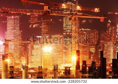 Under Construction Construction works of the Hong Kong section of Guangzhou Shenzhen Hong Kong express rail link. - stock photo