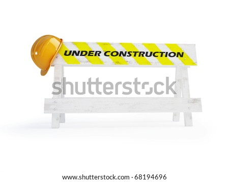 under construction helmet on a white background - stock photo