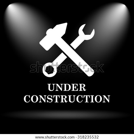 Under construction icon. Internet button on black background.