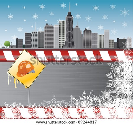Under construction.  illustration with city details Europe - stock photo
