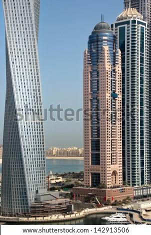Under construction in Dubai Marina - stock photo