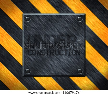 Under Construction Metal Plate Background - stock photo