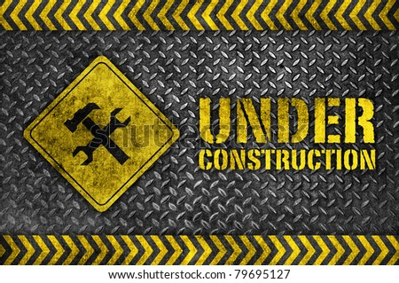 under construction metal style - stock photo