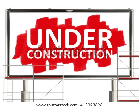 Under construction. Road sign on the white background. Raster illustration. - stock photo