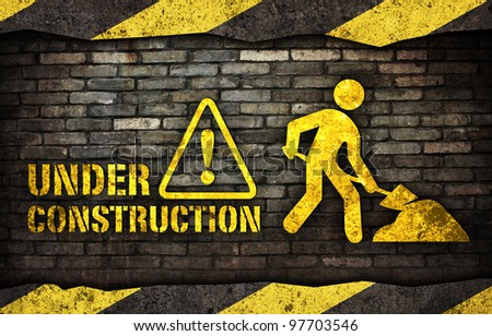 Under construction sign banner - stock photo