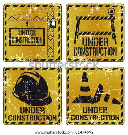 Under construction sticker set 2 - stock photo
