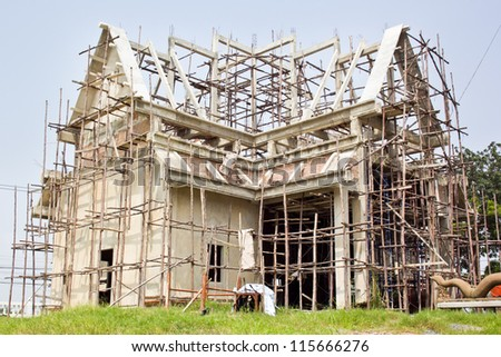 under construction temple, Thailand - stock photo