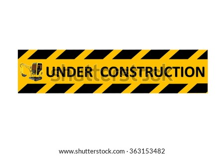 Under construction text and sign on white background.