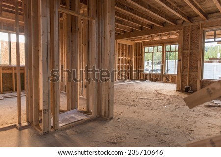 under construction / that's what they call a new home / that is being built - stock photo