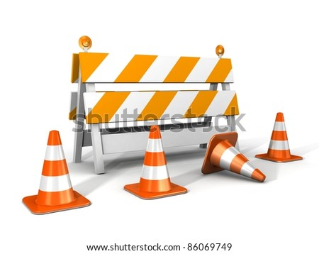 under construction! with traffic cones - stock photo