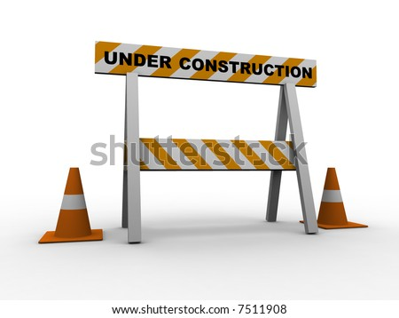 under construction! with traffic cones - 3d isolated illustration - stock photo