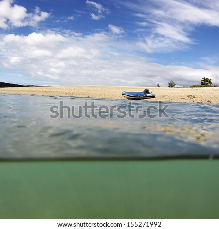 Under over water beach landscape in the Whitsundays Australia. - stock photo