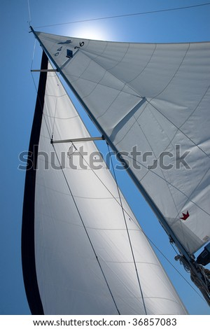 Under sail on the yacht