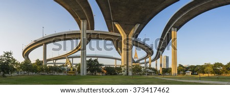 Under the Bhumipol mega bridge structure on twilight period in bangkok thailand