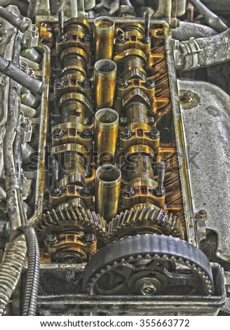 Under the cover of the valves of the car in HDR effect