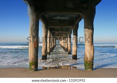 Under the pier, Manhattan Beach, California - stock photo