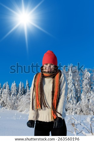 Under the Sun Beauty in warm clothes  - stock photo