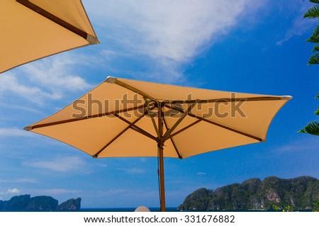 Under Umbrella Scenic Holidays  - stock photo