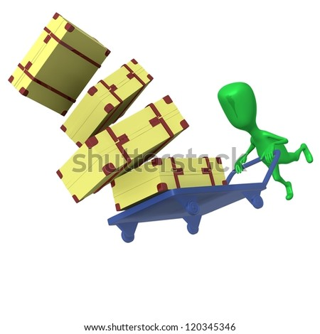 Under view green puppet crash trolley with cases - stock photo