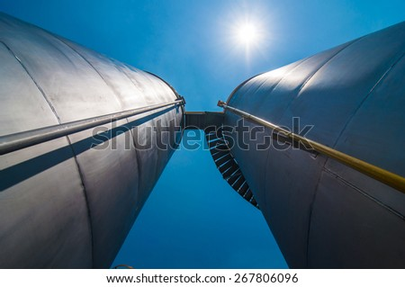 Under view Oil Tank Factory plant. - stock photo