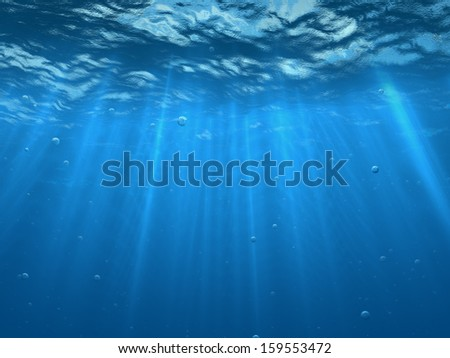 Under water with bubbles  - stock photo