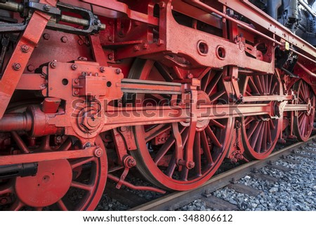undercarriage of a steam loco