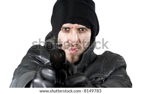 Undercover agent or delinquent firing handgun in the camera. Isolated. - stock photo