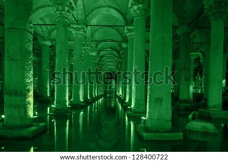 Underground basilica cistern - stock photo