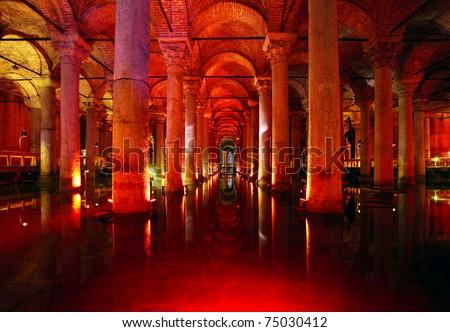 Underground basilica cistern. Byzantine water reservoir build by Emperor Justinianus - Turkey, Istanbul - stock photo
