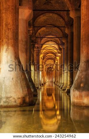 Underground Basilica Cistern in Istanbul, Turkey. - stock photo