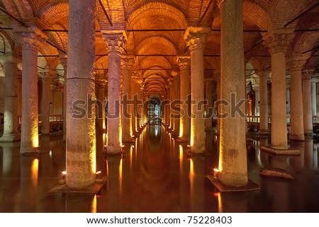 Underground Basilica Cistern (Yerebatan Sarnici) in Istanbul, Turkey - stock photo