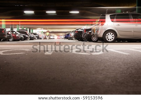 Underground car parking - stock photo