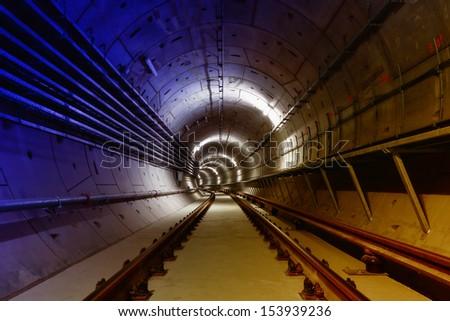 underground metro line - stock photo