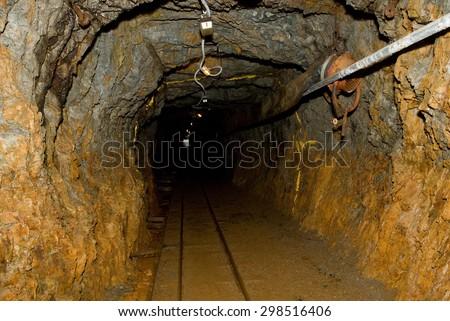 underground mining tunnel - stock photo