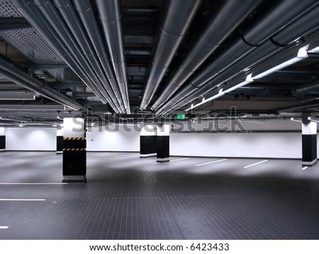 Underground parking lot - stock photo