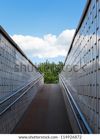 Underground passage. Exit to nature. - stock photo