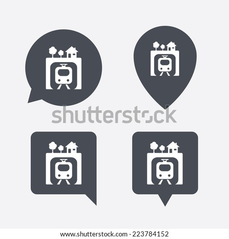 Underground sign icon. Metro train symbol. Map pointers information buttons. Speech bubbles with icons. - stock photo