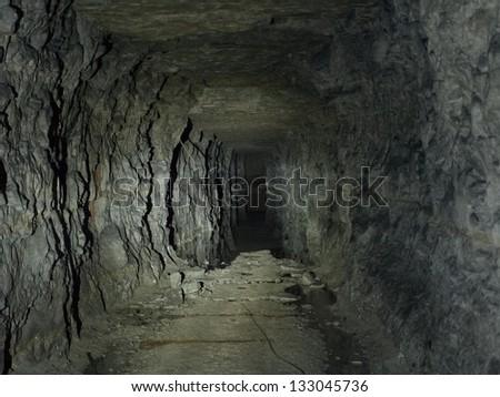 Underground tunnel at Peter The Great Sea Fortress, Tallinn, Estonia - stock photo