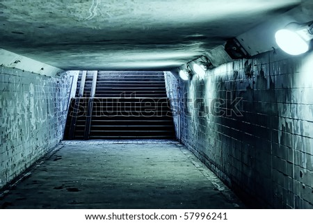 Underground with walls and ladder - stock photo