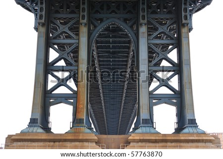 Underneath the Manhattan Bridge in New York City. - stock photo